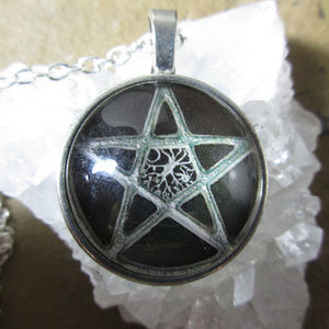 Jewelry - Pentagram of Tree of Life black & silver necklace